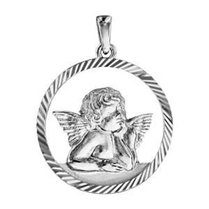 Pendentif argent rhodié rond Ange contour ajouré diamanté - Vue 1