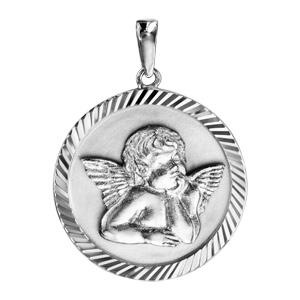 Pendentif argent rhodié rond Ange contour diamanté - Vue 1