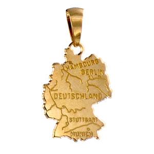 Pendentif carte Allemagne plaqué or - Vue 1