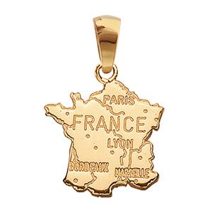 Pendentif carte de la France grande taille plaqué or - Vue 1