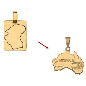 Pendentif carte plaqué or sur mesure - Vue 1