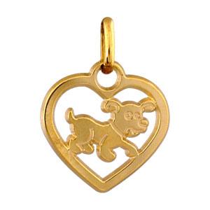 Pendentif Coeur découpé chien plaqué or