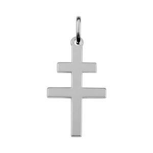 Pendentif croix de lorraine en argent rhodié plate et lisse - Vue 1
