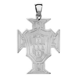 Pendentif croix du Portugal en argent rhodié grand modèle - Vue 1
