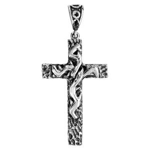 Pendentif croix en argent massif patinée avec motifs en relief - Vue 1