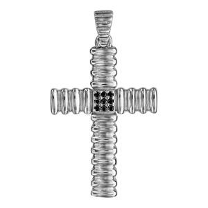 Pendentif croix en argent rhodié avec bourrelets et oxydes noirs sertis en carré au centre - Vue 1