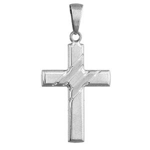 Pendentif croix en argent rhodié avec larges stries en travers - Vue 1