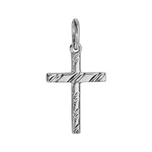 Pendentif croix en argent rhodié avec stries 20mm - Vue 1