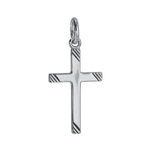Pendentif croix en argent rhodié avec stries aux extrémités 22mm - Vue 1