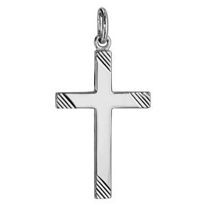 Pendentif croix en argent rhodié avec stries aux extrémités 27mm - Vue 1