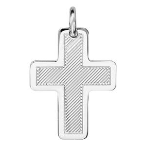 Pendentif croix en argent rhodié  diamanté et pourtour lisse - Vue 1