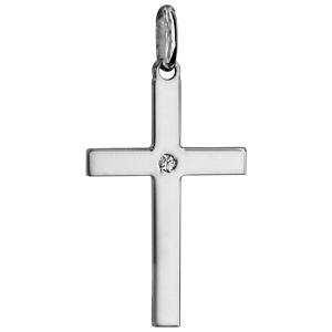 Pendentif croix en argent rhodié grand modèle avec 1 oxyde blanc serti au centre - Vue 1