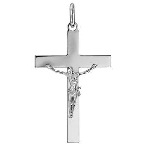 Pendentif croix en argent rhodié Jésus sur la croix grand modèle - Vue 1
