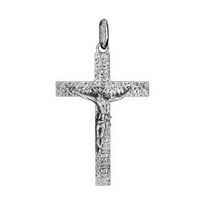 Pendentif croix en argent rhodié jésus sur la croix grand modèle diamanté - Vue 1