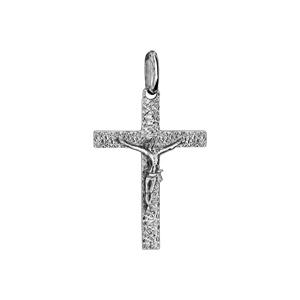 Pendentif croix en argent rhodié jésus sur la croix moyen modèle diamanté - Vue 1