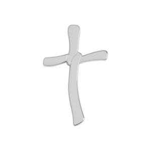Pendentif croix en argent rhodié lisse avec nœud - Vue 1