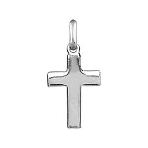 Pendentif croix en argent rhodié lisse et plate de 18mm - Vue 1