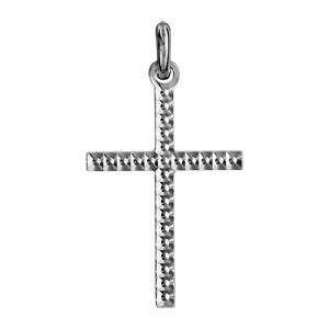 Pendentif croix en argent rhodié moyen modèle diamanté - Vue 1