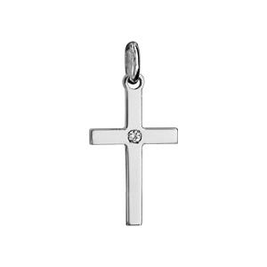 Pendentif croix en argent rhodié petit modèle avec 1 oxyde blanc serti au centre - Vue 1