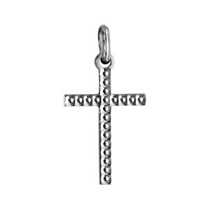 Pendentif croix en argent rhodié petit modèle diamanté - Vue 1