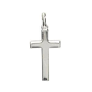 Pendentif croix en argent rhodié plate et lisse - Vue 1
