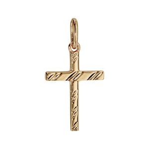 Pendentif croix en plaqué or diamantée - Vue 1