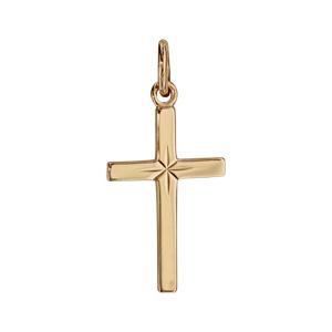 Pendentif croix en plaqué or diamantée en étoile - Vue 1