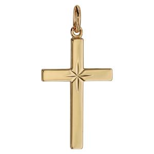 Pendentif croix en plaqué or grand modèle diamantée en étoile - Vue 1