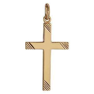 Pendentif croix en plaqué or grand modèle striée - Vue 1