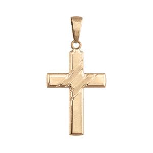Pendentif croix en plaqué or  large avec stries en travers - Vue 1