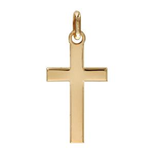Pendentif croix en plaqué or lisse et plate - Vue 1