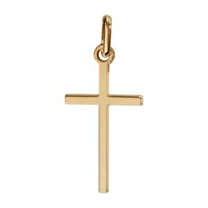 Pendentif croix en plaqué or lisse et plate petit modèle - Vue 1
