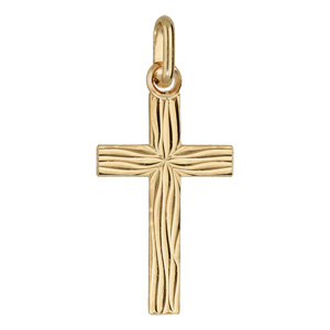Pendentif croix en plaqué or moyenne gravure \