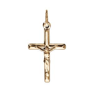 Pendentif croix en plaqué or ouvragée avec Jésus Christ - Vue 1