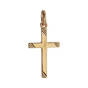 Pendentif croix en plaqué or striée - Vue 1