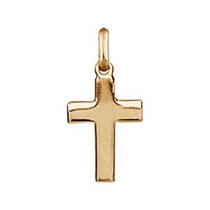 Pendentif croix plaqué or lisse et plate de 18mm - Vue 1