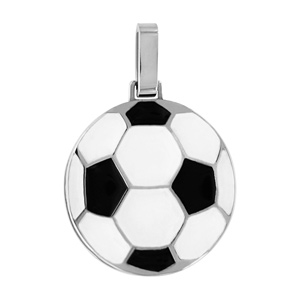 Pendentif en acier ballon de foot noir et blan