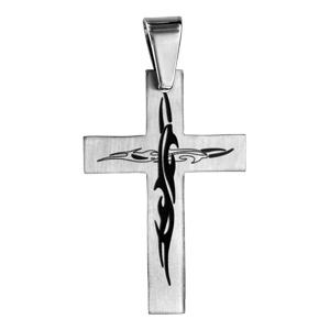 Pendentif en acier croix avec motif tribal noir