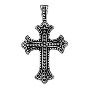 Pendentif en acier croix avec picots patinés - Vue 1