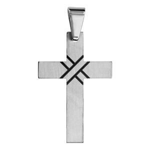 Pendentif en acier croix noire - Vue 1