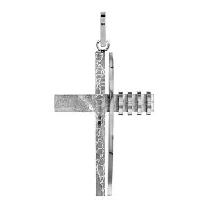Pendentif en acier croix stylisée craquelée sur 1 côté et striures de l'autre