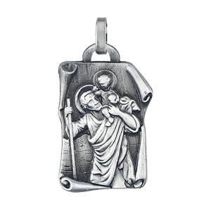 Pendentif en acier parchemin motif Saint Christophe - Vue 1