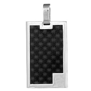 Pendentif en acier plaque G.I. rectangulaire avec bords gris et carbone quadrillé