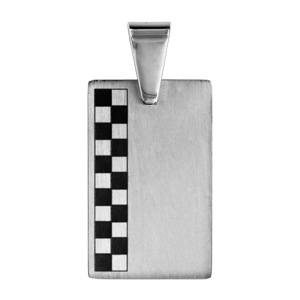 Pendentif en acier plaque G.I. rectangulaire avec damier gris et noir sur le côté - Vue 1