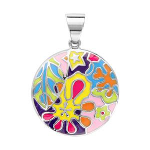 Pendentif en acier rond avec motif fleurs, taches, étoiles, fleuilles en résine colorée