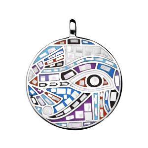 Pendentif en acier Stella Mia avec nacre rond motif multi couleur - Vue 1