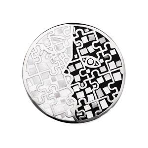 Pendentif en acier Stella Mia avec nacre rond motif noir et blanc - Vue 1