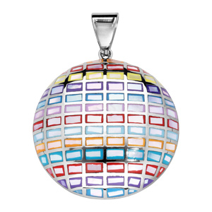 Pendentif en acier Stella Mia avec nacre rond motifs rectangle multi couleurs - Vue 1