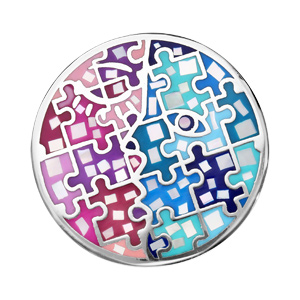 Pendentif en acier Stella Mia avec nacre rond multi couleur - Vue 1
