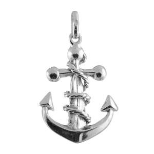Pendentif en argent ancre de marine avec cordage